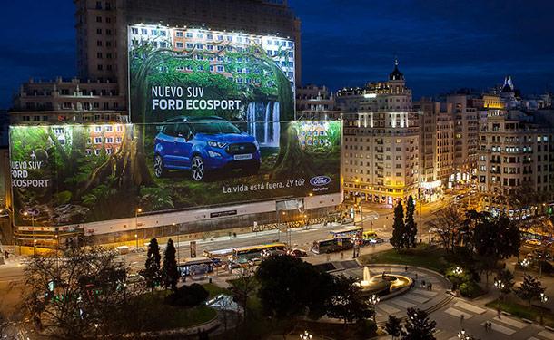 فورد تصمم أكبر لوحة إعلانات جدارية في العالم لإيكو سبورت الجديدة